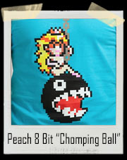 "Peach 8 Bit ""Chomping Ball"" Mario Bros T-Shirt"