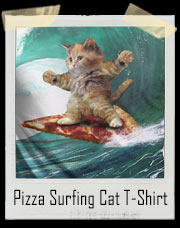 Pizza Slice Surfing Cat Shredding Waves T-Shirt
