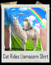 Cat Rides Llamacorn Rainbow Alien T-Shirt