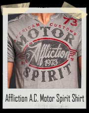 Affliction Oil Change Motor Spirit Slit Neck T Shirt
