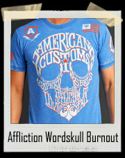 Affliction American Customs Wordskull Burnout T Shirt - American Customs Independent Motor Company - High Speed Rebels Motor Club Affliction Live Fast - Speed and Power