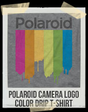 Polaroid Camera Logo Color Drip T-Shirt