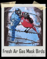 Fresh Air Birds Gas Mask Pollution T-Shirt