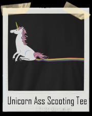 Unicorn Ass Scooting Rainbow Stain T-Shirt