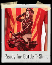 Ready For Battle Army Girl On Tank T-Shirt